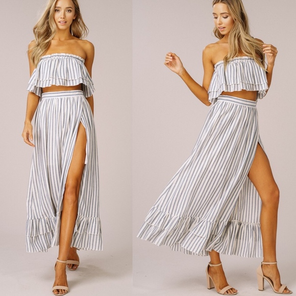 Bellanblue Dresses & Skirts - BRITTANIE Stripe Skirt Set - BLUE